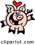 Vector of a Infatuated Pig Smiling and Laughing by Zooco