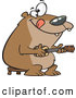 Vector of a Intelligent Cartoon Bear Playing a Ukelele by Ron Leishman