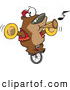 Vector of a Intelligent Cartoon Bear Playing Music While Riding a Unicycle by Toonaday