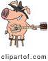 Vector of a Intelligent Cartoon Blues Pig Musician Playing a Guitar with a Big Smile on His Face by Ron Leishman