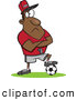 Vector of a Intimidating Cartoon Black Coach Waiting with Arms Crossed and His Foot Resting on a Soccer Ball by Toonaday