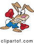 Vector of a Intimidating Cartoon Boxer Rabbit Punching with Boxing Gloves on by Toonaday