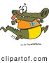 Vector of a Jogging Cartoon Alligator Smiling and Wearing the Number 12 3/4 by Toonaday