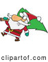 Vector of a Jolly Cartoon Santa Delivering a Christmas Tree by Ron Leishman