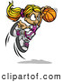 Vector of a Jumpling Cartoon Basketball Girl Player with the Ball by Chromaco