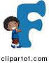 Vector of a Kid Beside Alphabet Letter F by BNP Design Studio