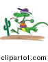 Vector of a Lizard Running like a Human Through a Desert - Cartoon Style by Toonaday
