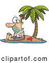 Vector of a Lonely Cartoon Shipwrecked Man Sitting on a Tiny Tropical Island by Toonaday