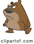 Vector of a Mad Cartoon Bear Walking with Clenched Fists and an Evil Facial Expression by Ron Leishman