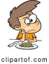 Vector of a Mad Cartoon Boy Sitting at a Dinner Table with a Pile of Greens on His Plate by Toonaday