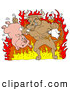 Vector of a Mad Cartoon Bull Choking a Chicken and Holding a Pig While Standing in Hot Fire by LaffToon