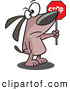 Vector of a Mad Cartoon Dog Directing Traffic to Stop with a Sign by Ron Leishman