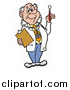 Vector of a Male Senior Caucasian Doctor in a Lab Coat, Wearing a Stethoscope, Holding a Clip Board and Looking at a Thermometer by LaffToon