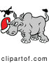 Vector of a Mean Cartoon Rhino Attacking Santa Hat by Zooco