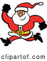 Vector of a Merry Cartoon Santa Running Forward with a Big Smile by Zooco