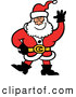 Vector of a Merry Cartoon Santa Waving While Smiling by Zooco