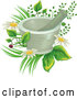 Vector of a Mortar and Pestle over Flowers and Medicinal Plants by BNP Design Studio
