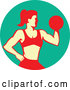 Vector of a Muscular Woman Working out with a Dumbbell and Doing Bicep Curls in a Turquoise Circle by Patrimonio