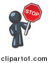 Vector of a Navy Blue Man Holding a Red Stop Sign by Leo Blanchette