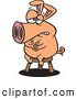Vector of a Nervous Cartoon Pig Sitting on a Stool by Ron Leishman