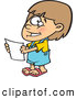 Vector of a Nervously Smiling Cartoon Girl Holding a Blank Report by Ron Leishman
