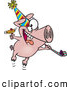 Vector of a New Year Cartoon Party Pig Celebrating with Noise Makers by Ron Leishman