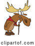 Vector of a Old Hiking Cartoon Moose Using a Walking Stick by Toonaday