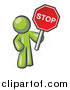 Vector of a Olive Green Man Holding a Red Stop Sign by Leo Blanchette