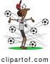 Vector of a Panicking Cartoon Black Female Soccer Coach Dodging Balls Flying Towards Her by Toonaday