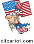 Vector of a Patriotic Uncle Sam Carrying an American Flag by Ron Leishman