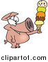 Vector of a Pig Holding a Big Ice Cream Cone by Toonaday