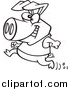 Vector of a Pig Running with a Smile - Outlined Cartoon Version by Ron Leishman