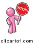 Vector of a Pink Man with Red Handheld STOP Sign by Leo Blanchette