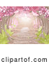 Vector of a Pretty Path Through Pink Spring Blossoms over a Stone Path with Ferns by Pushkin