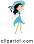 Vector of a Pretty Young Cartoon Lady Wearing a a Blue Dress and Hat by BNP Design Studio