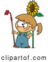 Vector of a Proud Cartoon Girl Posing Beside a Big Sunflower with a Garden Hoe by Ron Leishman