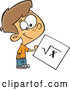 Vector of a Proud Cartoon School Boy Holding Square Root Math Page by Toonaday