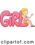 Vector of a Proud Cartoon School Girl Leaning Against the Word 'GiRL' by BNP Design Studio