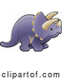 Vector of a Purple Triceratops Dinosaur with Horns by AtStockIllustration