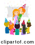 Vector of a Red Haired Caucasian Mother Surprising Her Birthday Girl by BNP Design Studio