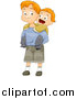 Vector of a Red Haired White Boy Jumping on His Big Brother's Back by BNP Design Studio