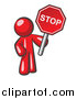 Vector of a Red Man Holding a Stop Sign by Leo Blanchette