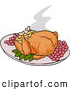 Vector of a Roasted Thanksgiving Turkey with Stuffing and Grapes by LaffToon