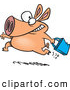 Vector of a Running Cartoon Pig Carrying a Shopping Bag by Ron Leishman