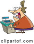 Vector of a Scared Female Cartoon Clerk Standing Beside Cash Register by Toonaday