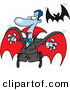 Vector of a Scared Halloween Cartoon Vampire Flying Away from a Real Bat by Ron Leishman