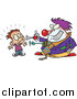 Vector of a Scary Clown Frightening a Boy - Cartoon Style by Ron Leishman