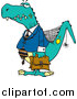 Vector of a Senior Business-Dinosaur Posing with Briefcase - Humorous Cartoon Style by Toonaday