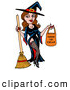 Vector of a Sexy Cartoon Witch Holding a Trick-Or-Treat Candy Bag and Broom by LaffToon