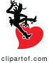 Vector of a Silhouetted Black Cartoon Cowboy Riding a Red Love Heart by Zooco